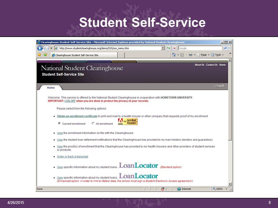 4/26/20158 Student Self-Service