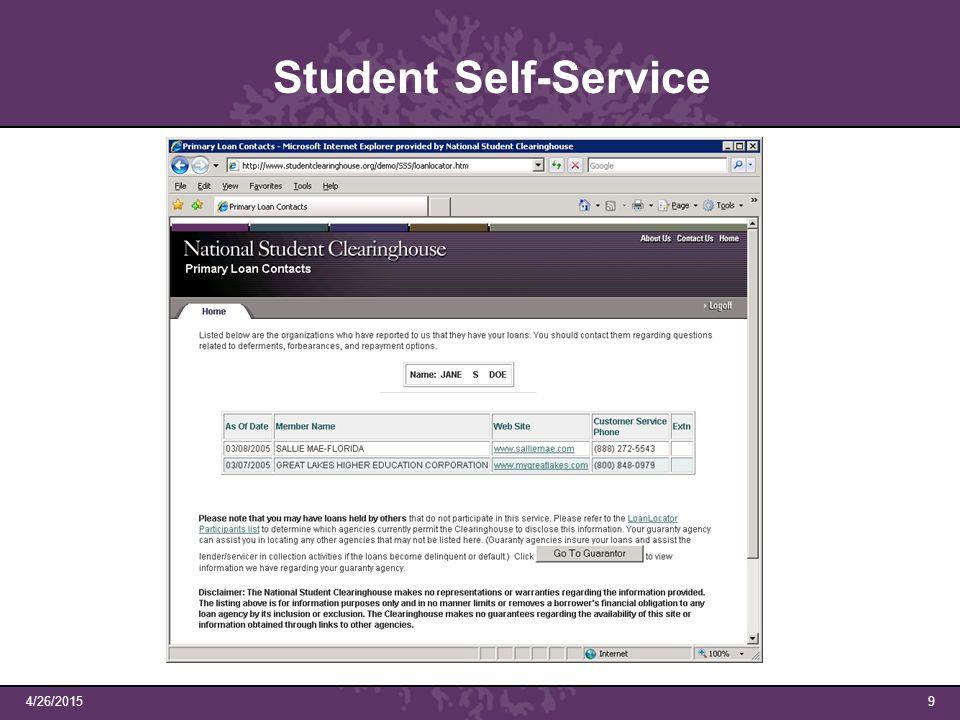 4/26/20159 Student Self-Service