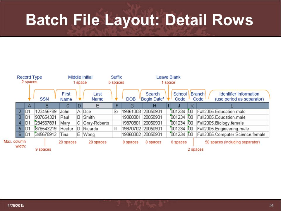 4/26/201554 Batch File Layout: Detail Rows