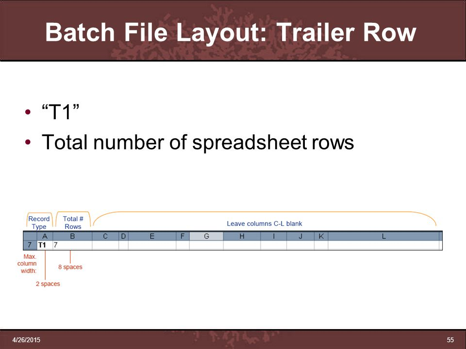 "4/26/201555 Batch File Layout: Trailer Row ""T1"" Total number of spreadsheet rows"