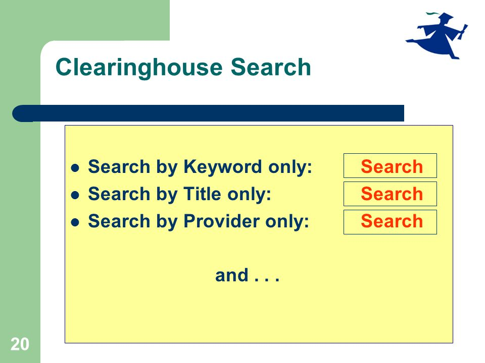 20 Clearinghouse Search Search by Keyword only: Search Search by Title only: Search Search by Provider only: Search and...