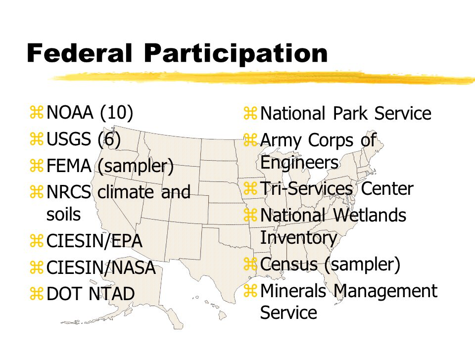 Federal Participation zNOAA (10) zUSGS (6) zFEMA (sampler) zNRCS climate and soils zCIESIN/EPA zCIESIN/NASA zDOT NTAD z National Park Service z Army Corps of Engineers z Tri-Services Center z National Wetlands Inventory z Census (sampler) z Minerals Management Service