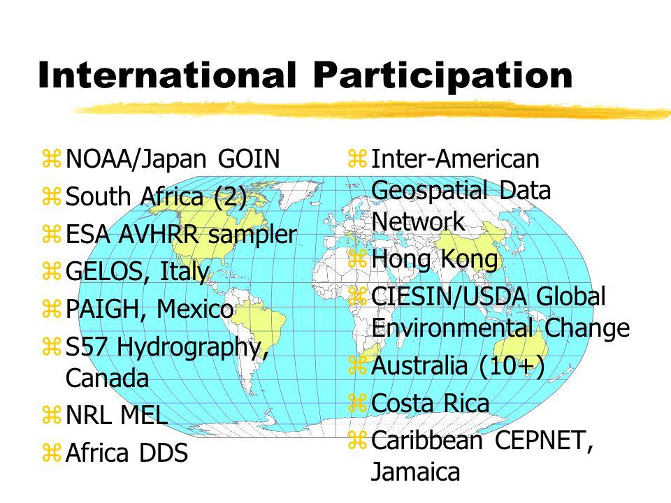 International Participation zNOAA/Japan GOIN zSouth Africa (2) zESA AVHRR sampler zGELOS, Italy zPAIGH, Mexico zS57 Hydrography, Canada zNRL MEL zAfrica DDS z Inter-American Geospatial Data Network z Hong Kong z CIESIN/USDA Global Environmental Change z Australia (10+) z Costa Rica z Caribbean CEPNET, Jamaica