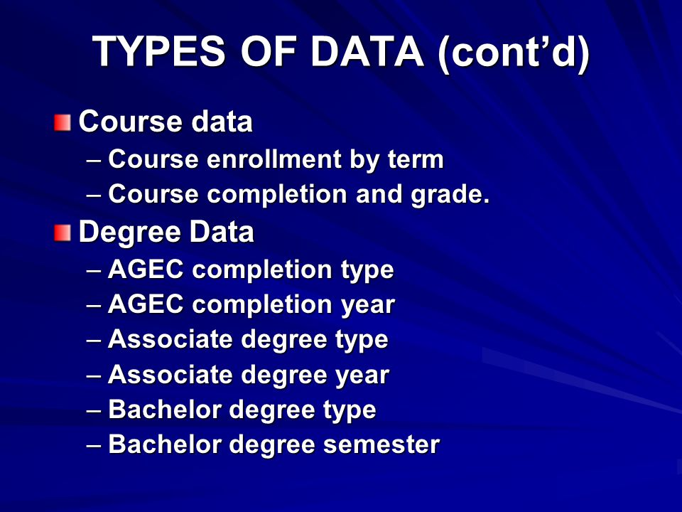 TYPES OF DATA (cont'd) Course data –Course enrollment by term –Course completion and grade.