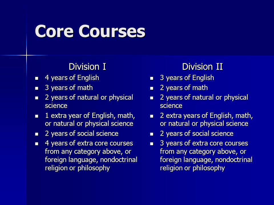 Core Courses Division I 4 years of English 4 years of English 3 years of math 3 years of math 2 years of natural or physical science 2 years of natural or physical science 1 extra year of English, math, or natural or physical science 1 extra year of English, math, or natural or physical science 2 years of social science 2 years of social science 4 years of extra core courses from any category above, or foreign language, nondoctrinal religion or philosophy 4 years of extra core courses from any category above, or foreign language, nondoctrinal religion or philosophy Division II 3 years of English 3 years of English 2 years of math 2 years of math 2 years of natural or physical science 2 years of natural or physical science 2 extra years of English, math, or natural or physical science 2 extra years of English, math, or natural or physical science 2 years of social science 2 years of social science 3 years of extra core courses from any category above, or foreign language, nondoctrinal religion or philosophy 3 years of extra core courses from any category above, or foreign language, nondoctrinal religion or philosophy
