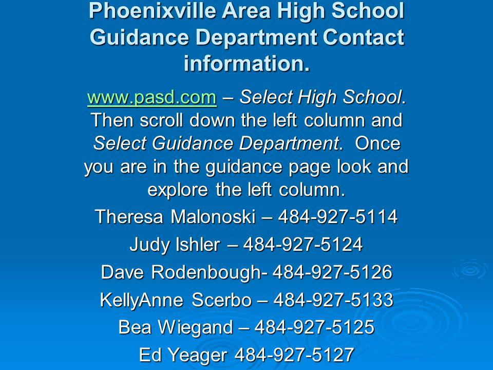 Phoenixville Area High School Guidance Department Contact information.
