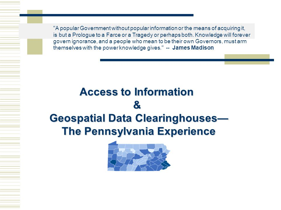 More Questions…  What types of data do you think would be available through a spatial data clearinghouse.