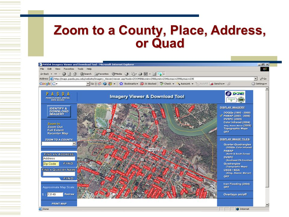 Zoom to a County, Place, Address, or Quad