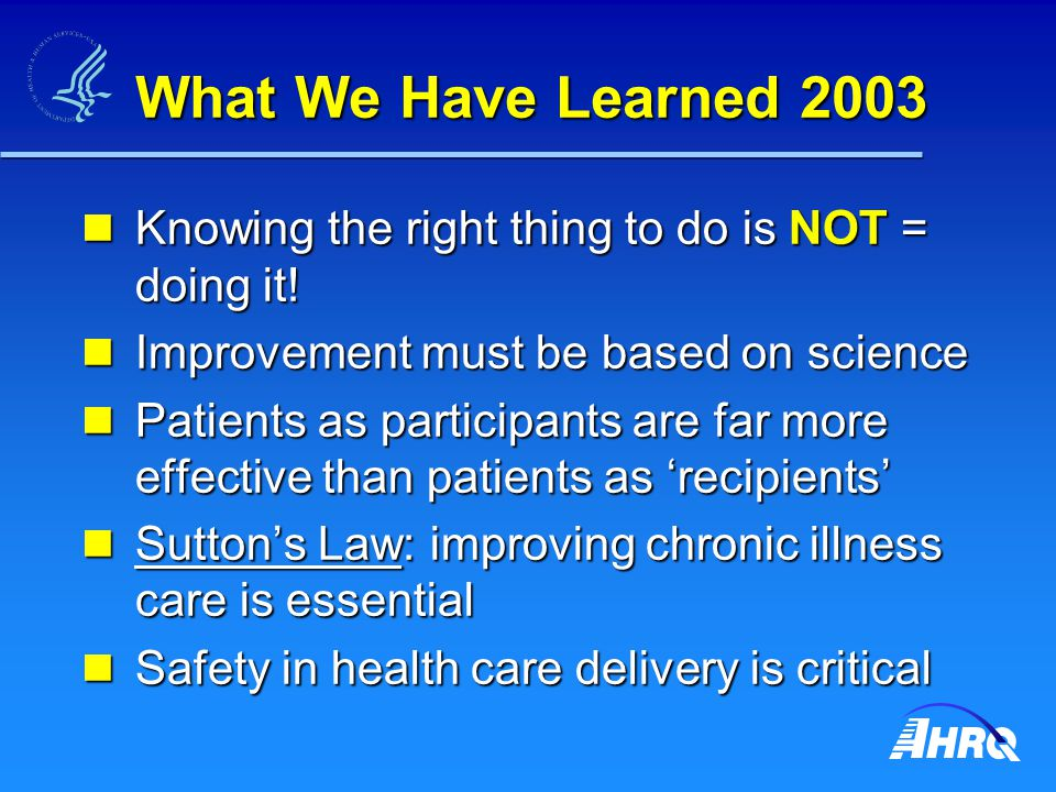 What We Have Learned 2003 Knowing the right thing to do is NOT = doing it.