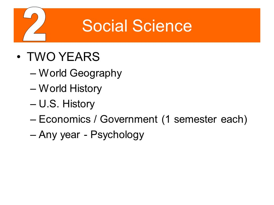 Social Science TWO YEARS –World Geography –World History –U.S. History –Economics / Government (1 semester each) –Any year - Psychology