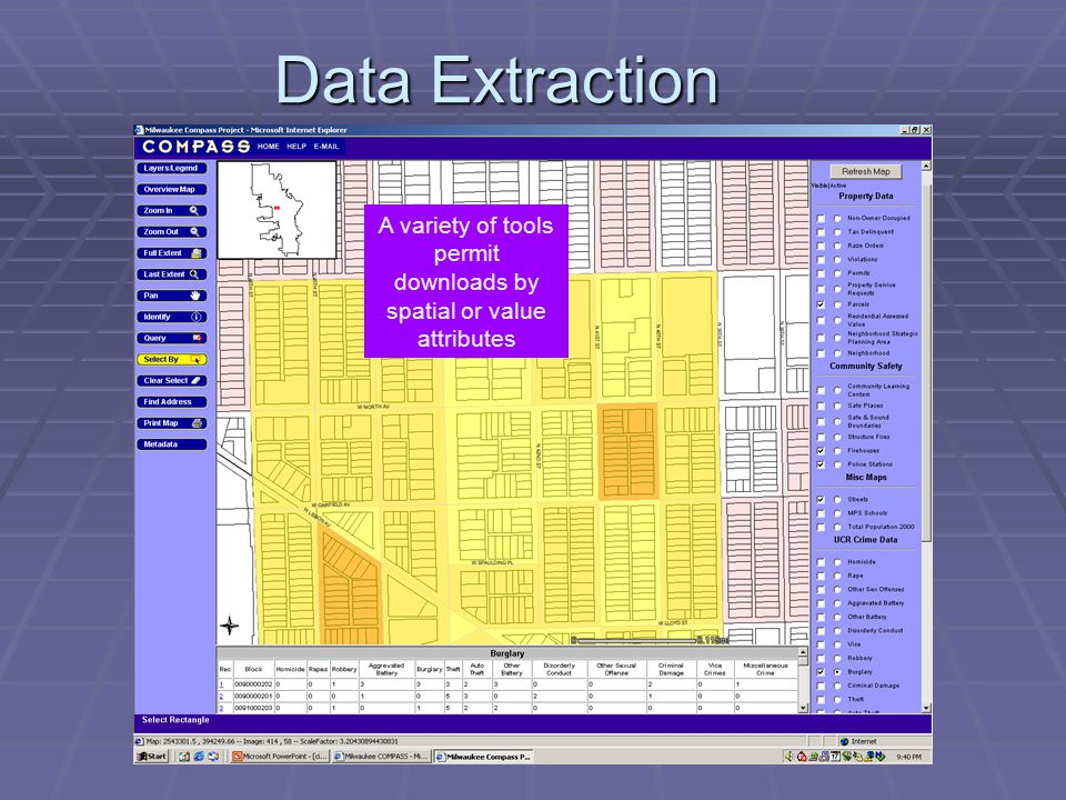 Data Extraction A variety of tools permit downloads by spatial or value attributes