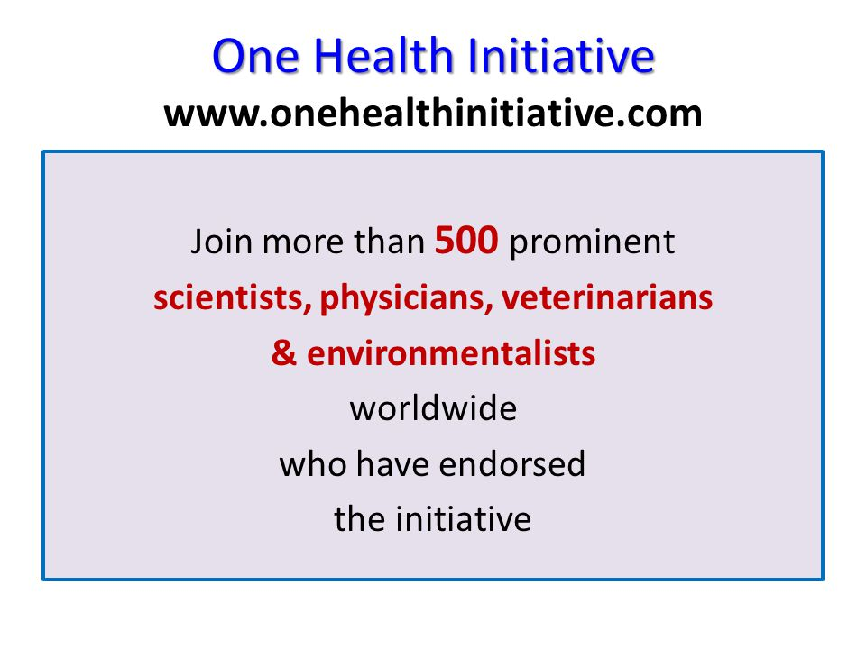 One Health Initiative One Health Initiative www.onehealthinitiative.com Join more than 500 prominent scientists, physicians, veterinarians & environme