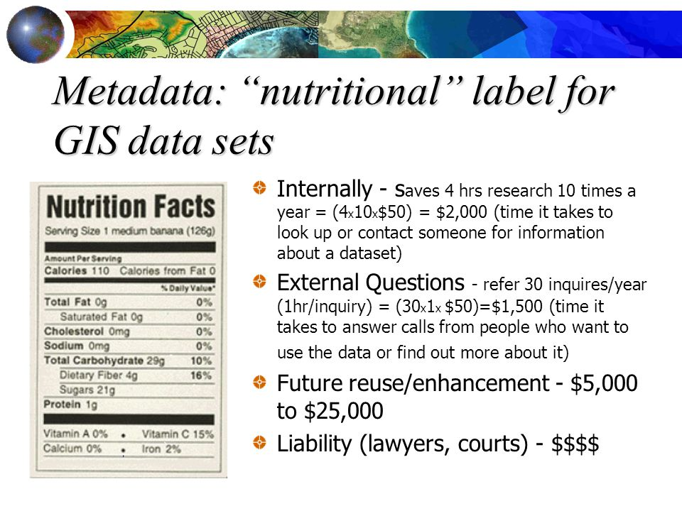Metadata: nutritional label for GIS data sets Internally - s aves 4 hrs research 10 times a year = (4 x 10 x $50) = $2,000 (time it takes to look up or contact someone for information about a dataset) External Questions - refer 30 inquires/year (1hr/inquiry) = (30 x 1 x $50)=$1,500 (time it takes to answer calls from people who want to use the data or find out more about it) Future reuse/enhancement - $5,000 to $25,000 Liability (lawyers, courts) - $$$$