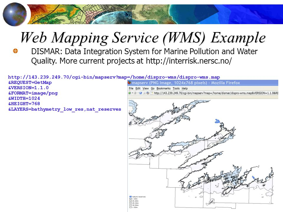 Web Mapping Service (WMS) Example DISMAR: Data Integration System for Marine Pollution and Water Quality. More current projects at http://interrisk.ne