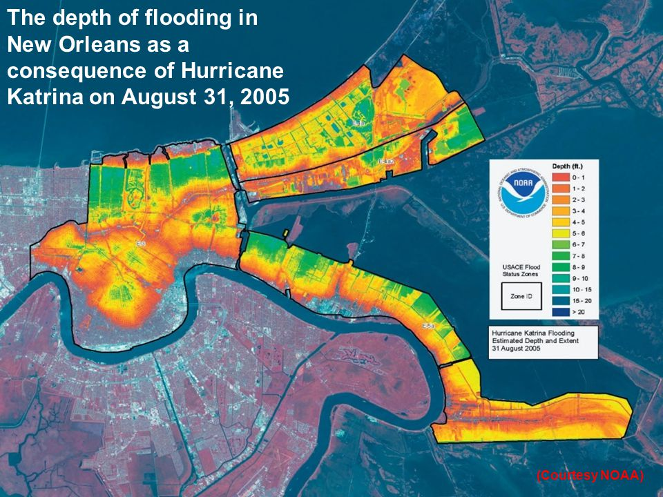 The depth of flooding in New Orleans as a consequence of Hurricane Katrina on August 31, 2005 (Courtesy NOAA)