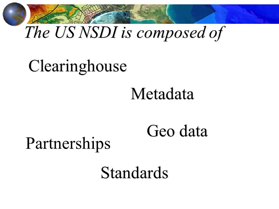 The US NSDI is composed of Metadata Geo data Geo data Clearinghouse Standards Partnerships