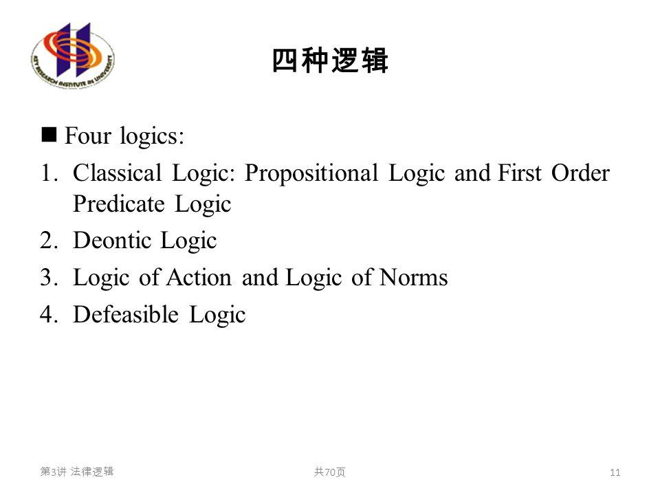 四种逻辑 Four logics: 1.Classical Logic: Propositional Logic and First Order Predicate Logic 2.Deontic Logic 3.Logic of Action and Logic of Norms 4.Defeas