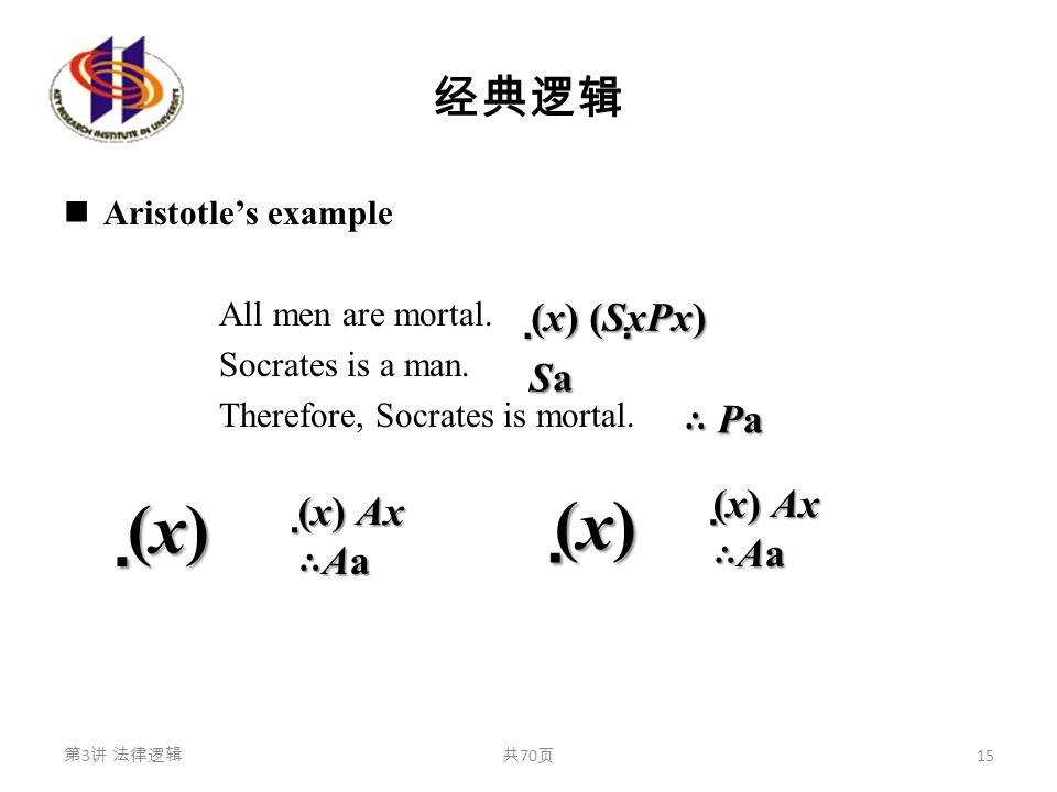经典逻辑 Aristotle's example All men are mortal. Socrates is a man. Therefore, Socrates is mortal. 第 3 讲 法律逻辑共 70 页 15 (x)(x)(x)(x) (x)(x)(x)(x) (