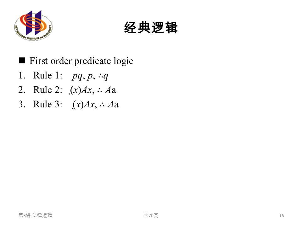 经典逻辑 First order predicate logic 1.Rule 1: p  q, p, ∴ q 2.Rule 2: (  x)Ax, ∴ Aa 3.Rule 3: (  x)Ax, ∴ Aa 第 3 讲 法律逻辑共 70 页 16
