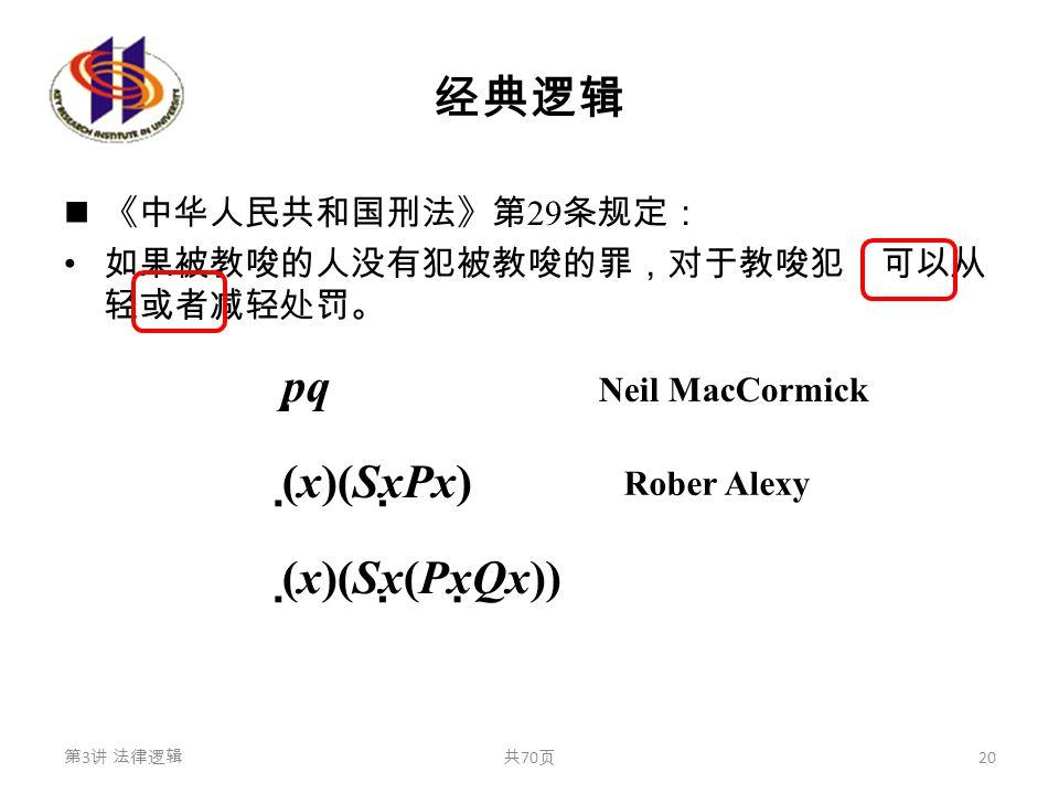 经典逻辑 《中华人民共和国刑法》第 29 条规定: 如果被教唆的人没有犯被教唆的罪,对于教唆犯,可以从 轻或者减轻处罚。 p  q (  x)(Sx  Px) (  x)(Sx  (Px  Qx)) 第 3 讲 法律逻辑共 70 页 20 Neil MacCormick Rober Al