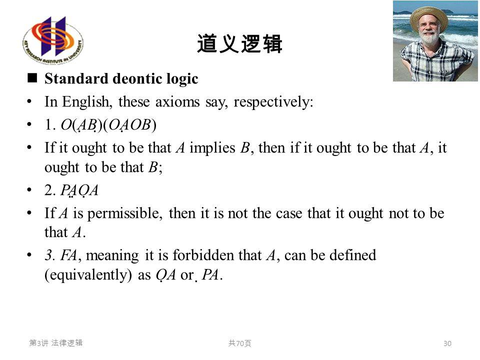 道义逻辑 Standard deontic logic In English, these axioms say, respectively: 1. O(A  B)  (OA  OB) If it ought to be that A implies B, then if it ought t