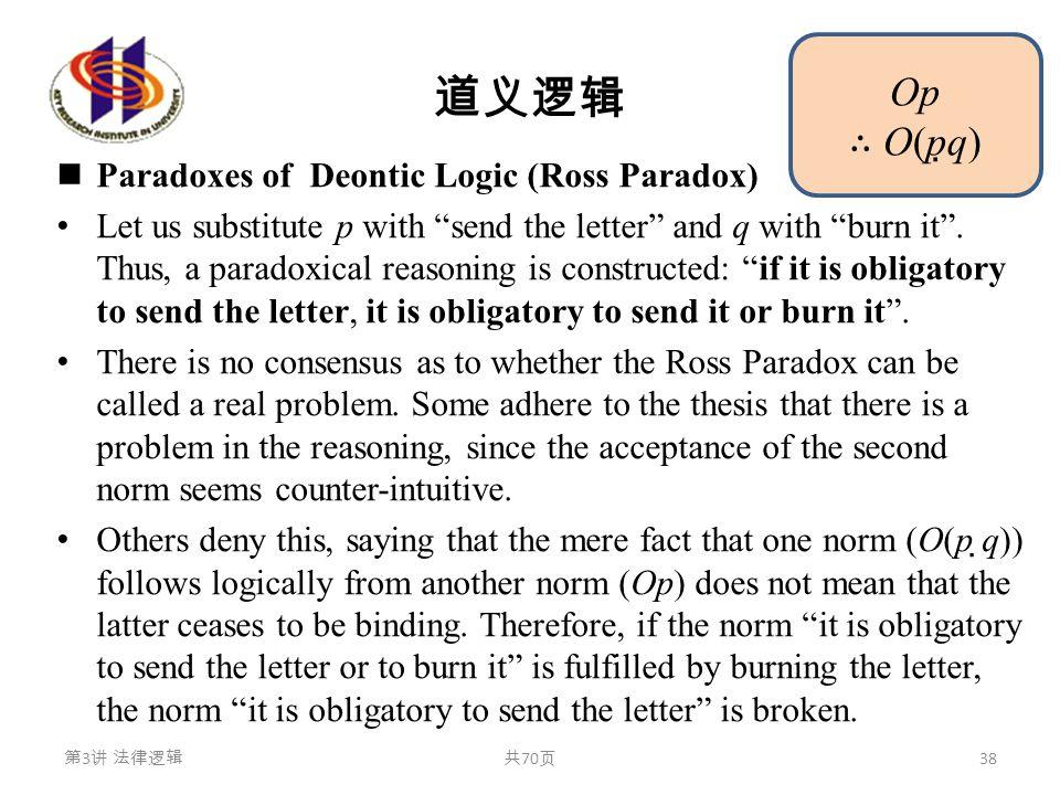 """道义逻辑 Paradoxes of Deontic Logic (Ross Paradox) Let us substitute p with """"send the letter"""" and q with """"burn it"""". Thus, a paradoxical reasoning is const"""