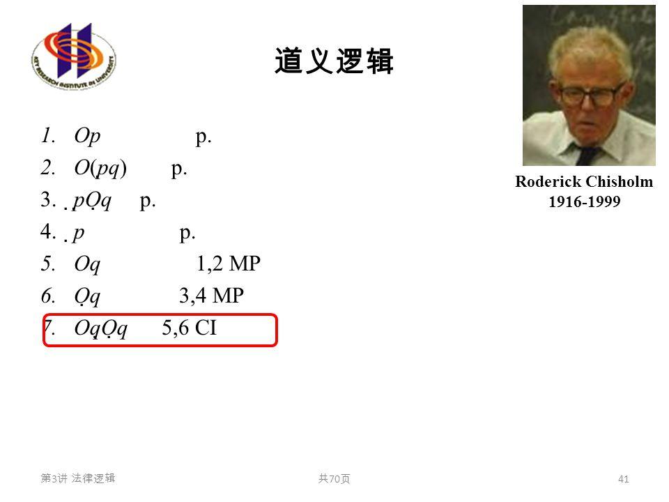 道义逻辑 1.Op p. 2.O(p  q) p. 3.  p  O  q p. 4.  p p. 5.Oq 1,2 MP 6.O  q 3,4 MP 7.Oq  O  q 5,6 CI 第 3 讲 法律逻辑共 70 页 41 Roderick Chisholm 1916-1999