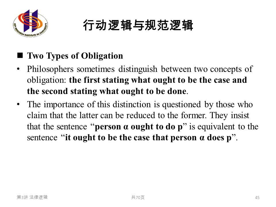 行动逻辑与规范逻辑 Two Types of Obligation Philosophers sometimes distinguish between two concepts of obligation: the first stating what ought to be the case a