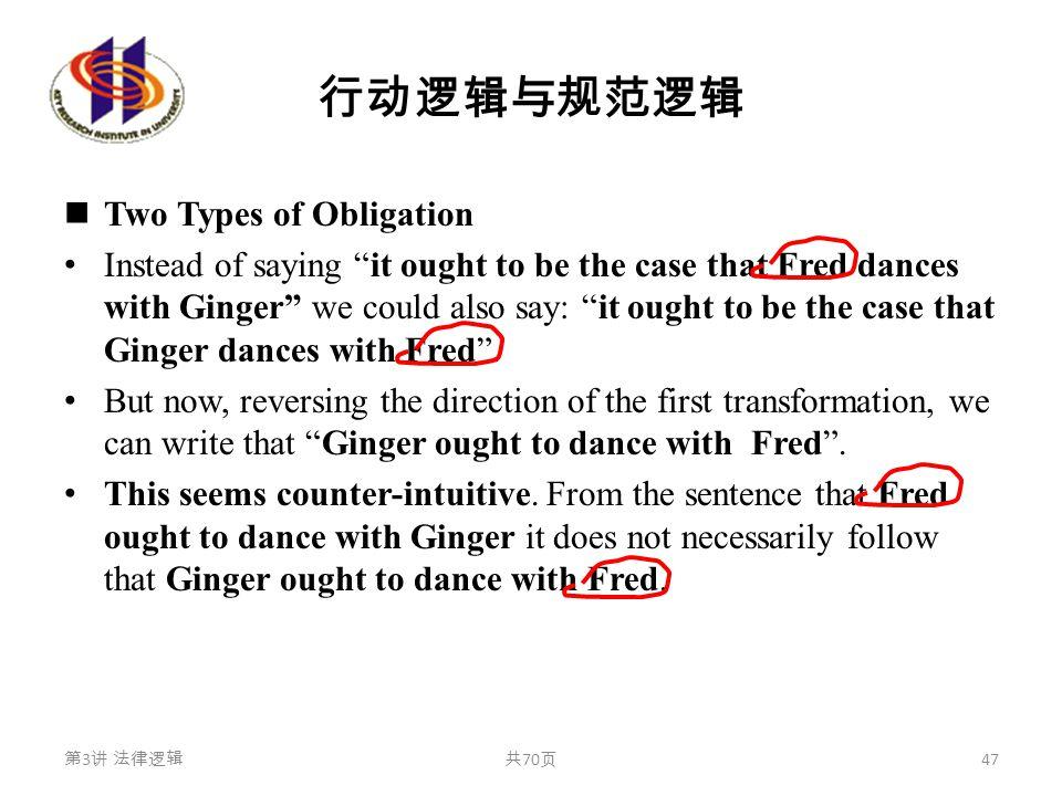 """行动逻辑与规范逻辑 Two Types of Obligation Instead of saying """"it ought to be the case that Fred dances with Ginger"""" we could also say: """"it ought to be the case"""