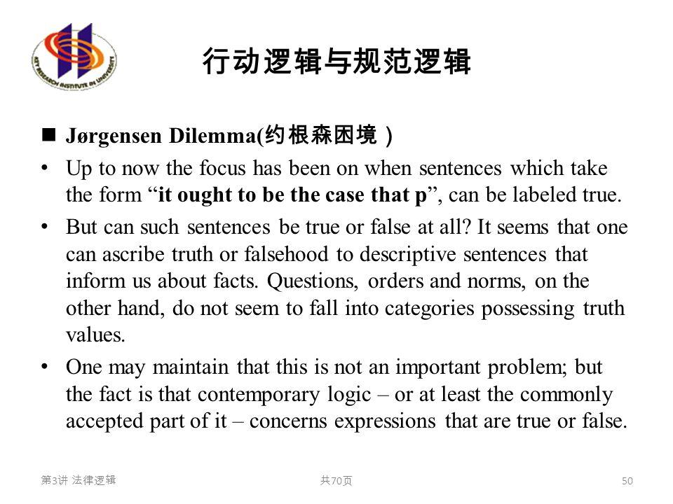 """行动逻辑与规范逻辑 Jørgensen Dilemma( 约根森困境) Up to now the focus has been on when sentences which take the form """"it ought to be the case that p"""", can be labele"""