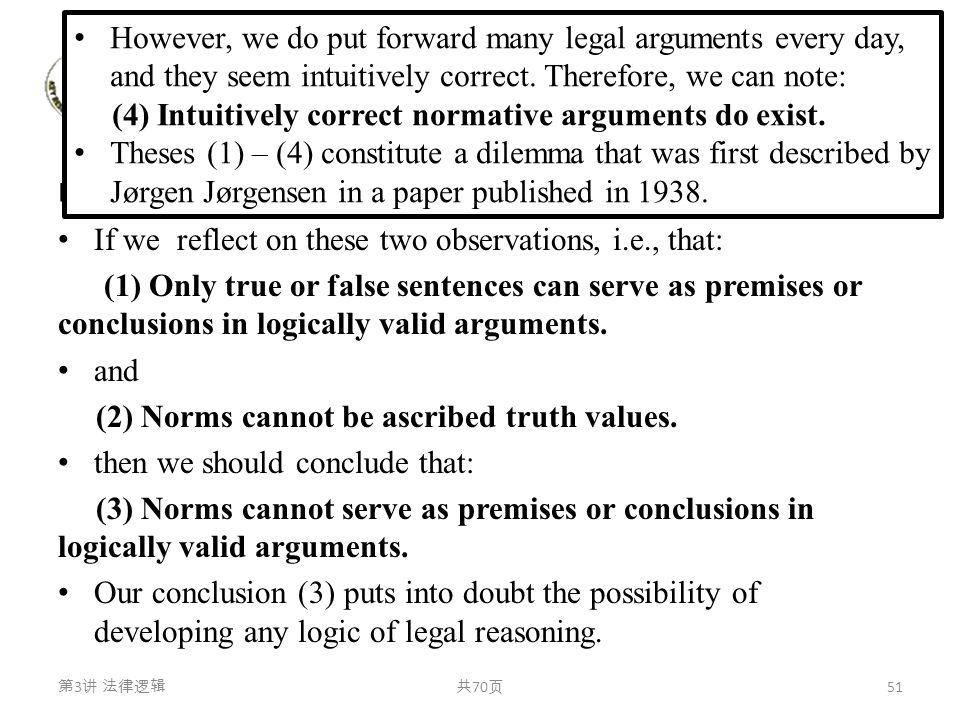 行动逻辑与规范逻辑 Jørgensen Dilemma( 约根森困境) If we reflect on these two observations, i.e., that: (1) Only true or false sentences can serve as premises or con
