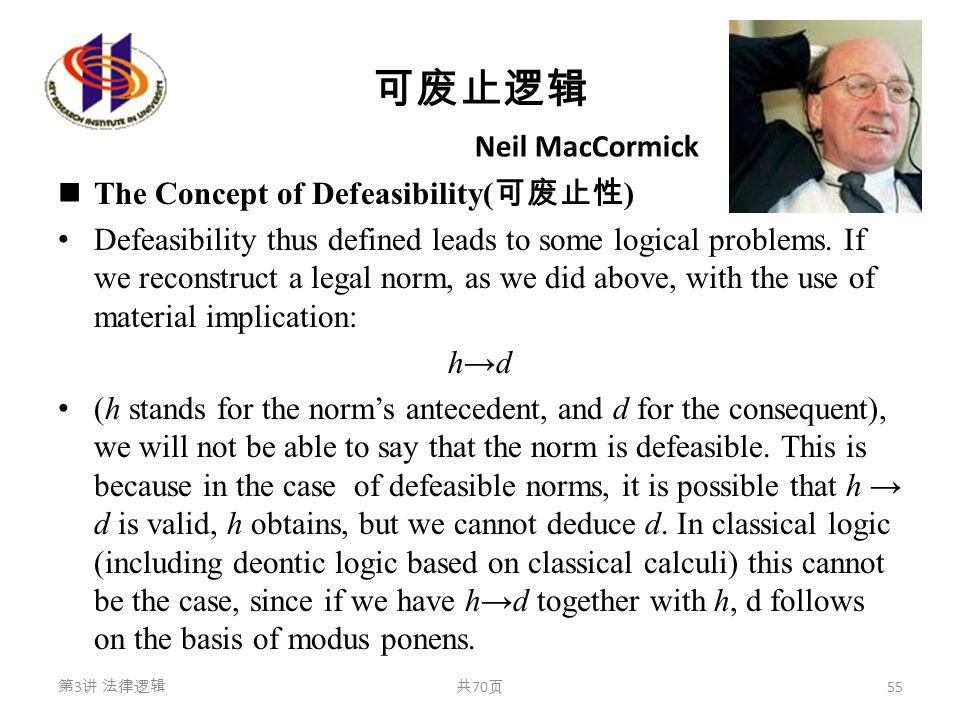 可废止逻辑 The Concept of Defeasibility( 可废止性 ) Defeasibility thus defined leads to some logical problems. If we reconstruct a legal norm, as we did above,