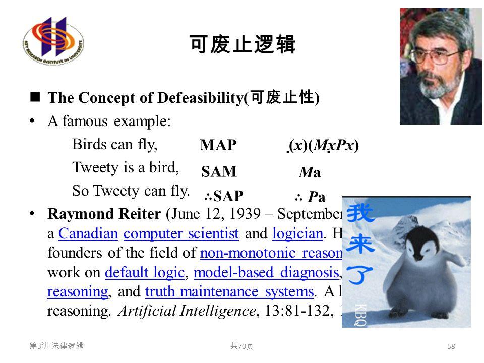 可废止逻辑 The Concept of Defeasibility( 可废止性 ) A famous example: Birds can fly, Tweety is a bird, So Tweety can fly. Raymond Reiter (June 12, 1939 – Septe