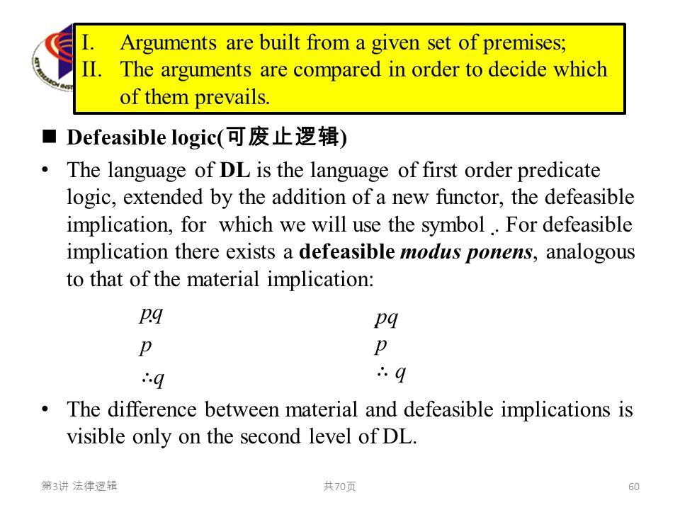 可废止逻辑 Defeasible logic( 可废止逻辑 ) The language of DL is the language of first order predicate logic, extended by the addition of a new functor, the defe
