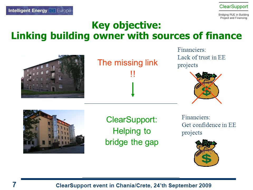 ClearSupport event in Chania/Crete, 24'th September 2009 7 Key objective: Linking building owner with sources of finance The missing link !! ClearSupp