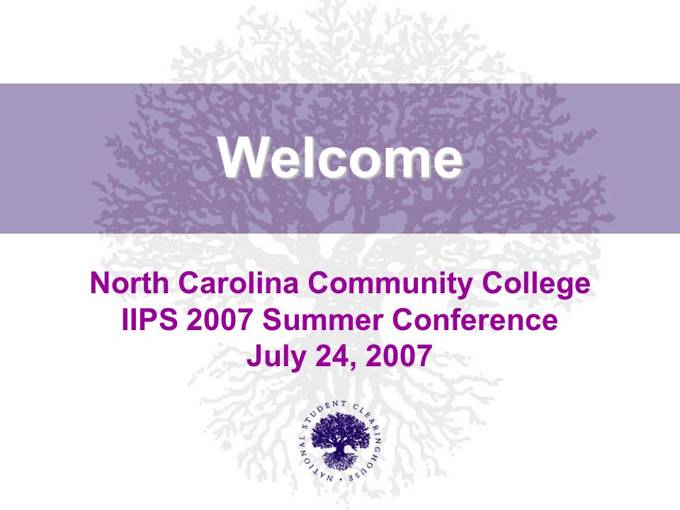 Welcome North Carolina Community College IIPS 2007 Summer Conference July 24, 2007