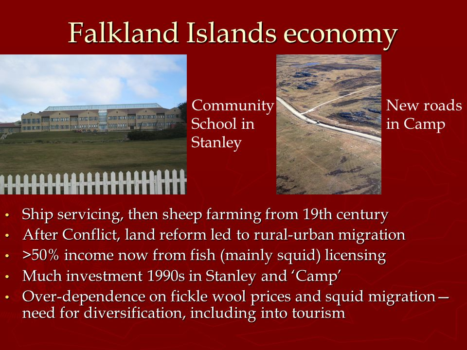 Falkland Islands economy Ship servicing, then sheep farming from 19th century After Conflict, land reform led to rural-urban migration >50% income now