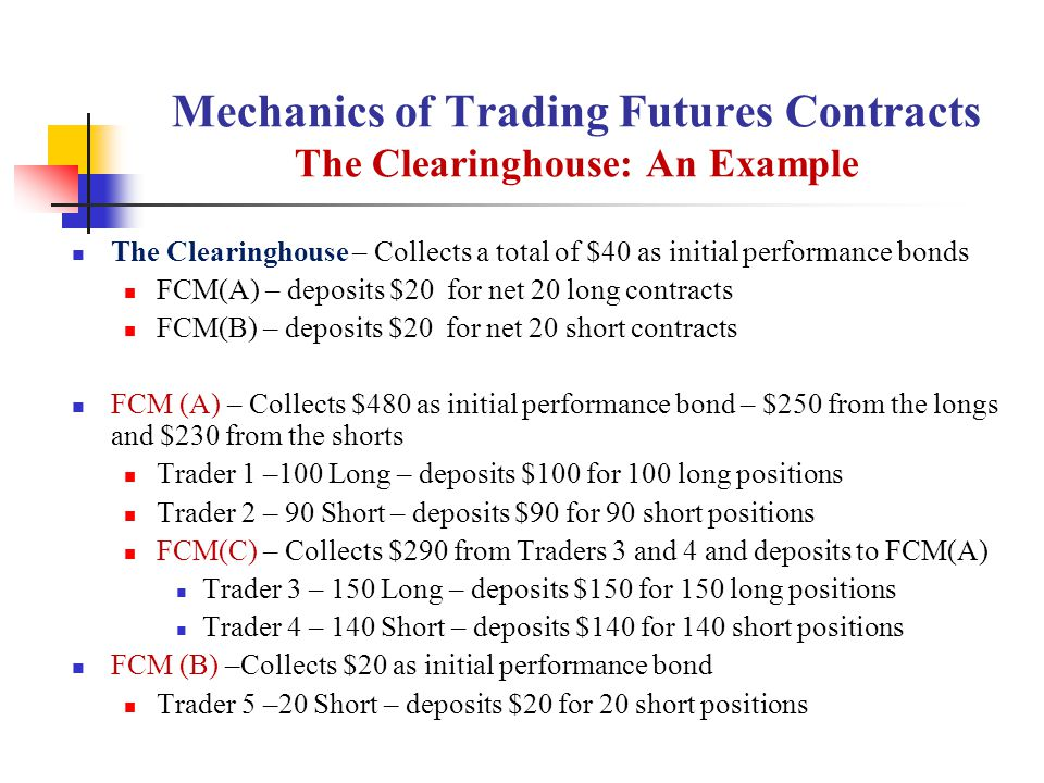 Mechanics of Trading Futures Contracts The Clearinghouse: An Example The Clearinghouse – Collects a total of $40 as initial performance bonds FCM(A) – deposits $20 for net 20 long contracts FCM(B) – deposits $20 for net 20 short contracts FCM (A) – Collects $480 as initial performance bond – $250 from the longs and $230 from the shorts Trader 1 –100 Long – deposits $100 for 100 long positions Trader 2 – 90 Short – deposits $90 for 90 short positions FCM(C) – Collects $290 from Traders 3 and 4 and deposits to FCM(A) Trader 3 – 150 Long – deposits $150 for 150 long positions Trader 4 – 140 Short – deposits $140 for 140 short positions FCM (B) –Collects $20 as initial performance bond Trader 5 –20 Short – deposits $20 for 20 short positions
