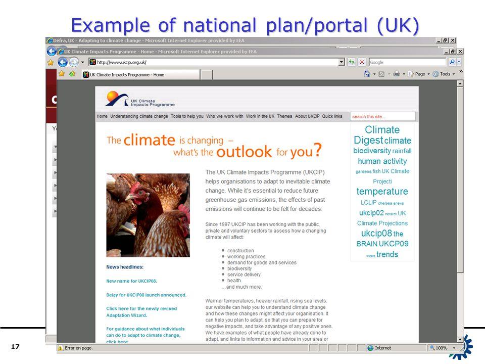 17 Example of national plan/portal (UK)