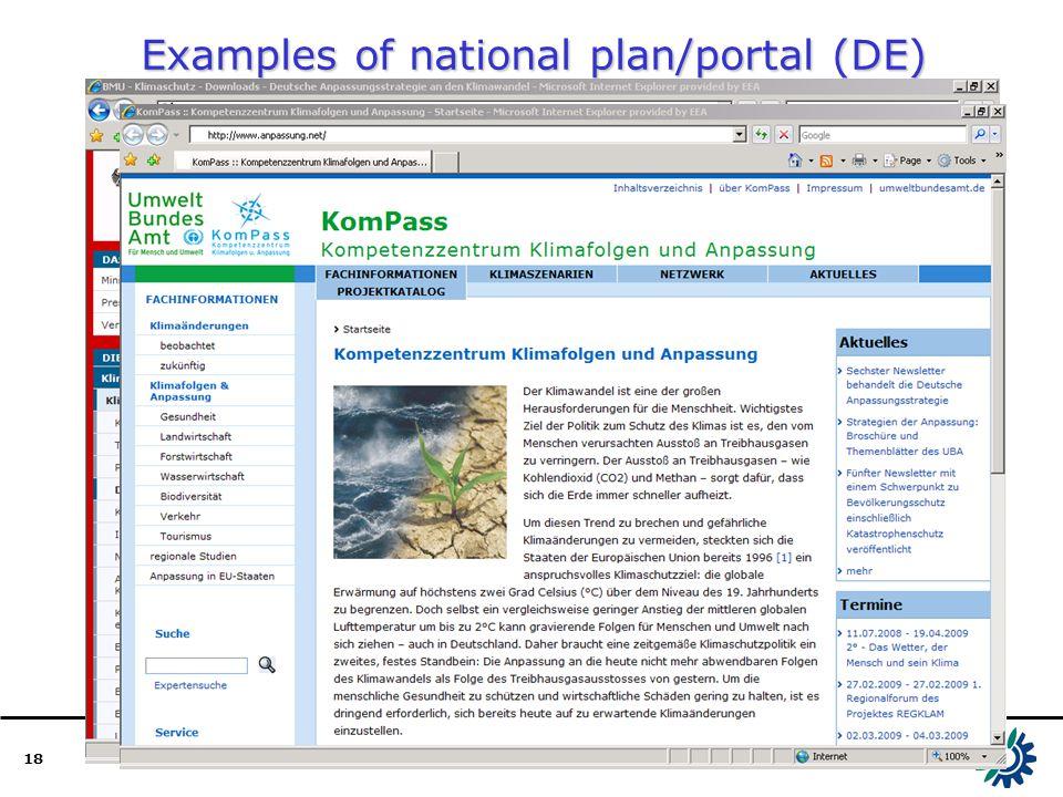 18 Examples of national plan/portal (DE)