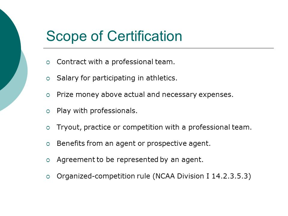  Contract with a professional team.  Salary for participating in athletics.