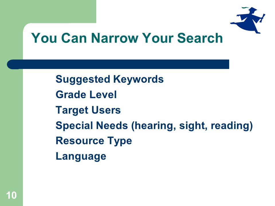 10 You Can Narrow Your Search Suggested Keywords Grade Level Target Users Special Needs (hearing, sight, reading) Resource Type Language
