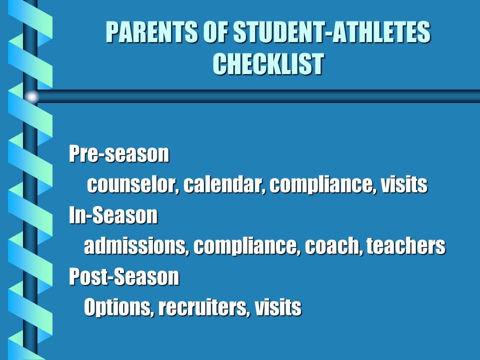 PARENTS OF STUDENT-ATHLETES CHECKLIST Pre-season counselor, calendar, compliance, visits In-Season admissions, compliance, coach, teachers admissions, compliance, coach, teachersPost-Season Options, recruiters, visits Options, recruiters, visits