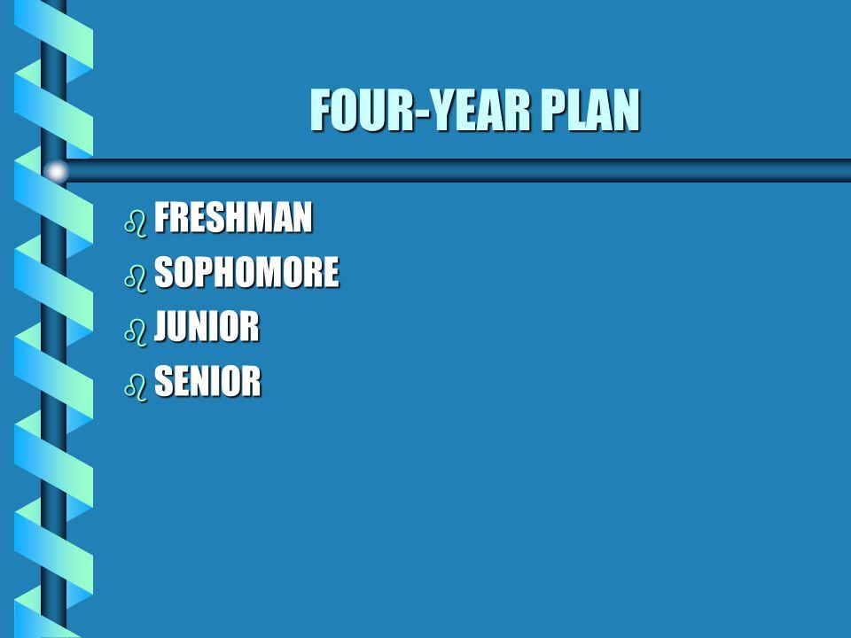 FOUR-YEAR PLAN b FRESHMAN b SOPHOMORE b JUNIOR b SENIOR