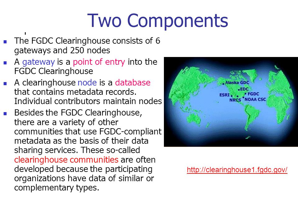 Two Components The FGDC Clearinghouse consists of 6 gateways and 250 nodes A gateway is a point of entry into the FGDC Clearinghouse A clearinghouse node is a database that contains metadata records.