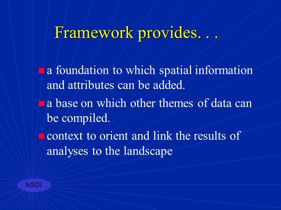 NSDI GEOdata Framework Categories of Geospatial Data