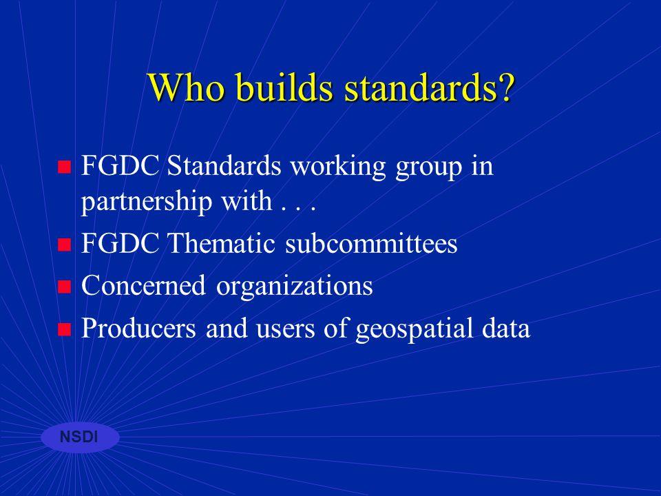 NSDI GEOdata Framework Metadata Clearinghouse (catalog) Standards Consistent approaches...