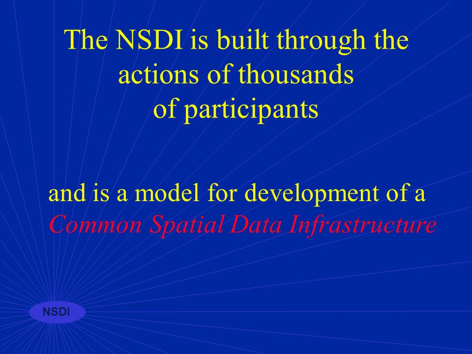 NSDI Working with stakeholders to forge a common strategy to build a common infrastructure