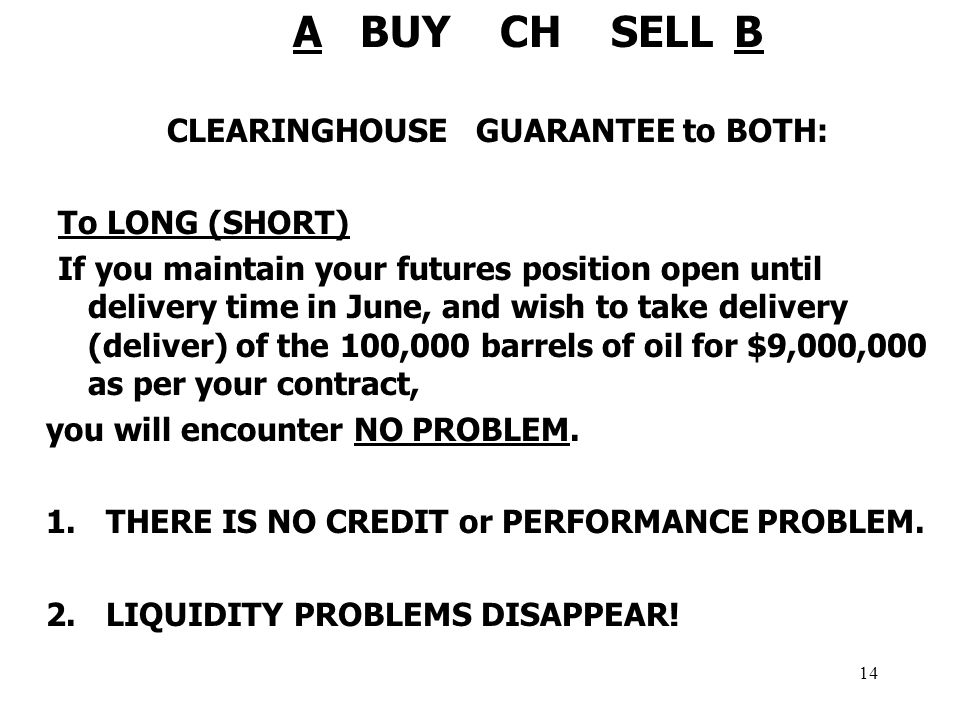 14 A BUY CH SELL B CLEARINGHOUSE GUARANTEE to BOTH: To LONG (SHORT) If you maintain your futures position open until delivery time in June, and wish to take delivery (deliver) of the 100,000 barrels of oil for $9,000,000 as per your contract, you will encounter NO PROBLEM.