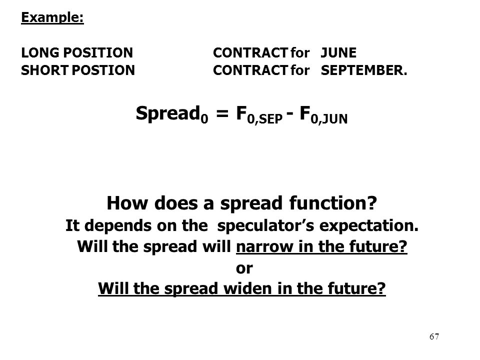 67 Example: LONG POSITION CONTRACT for JUNE SHORT POSTION CONTRACT for SEPTEMBER.